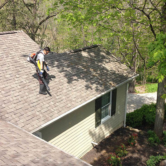20/20 View employee dusting and cleaning roof in Columbus, OH