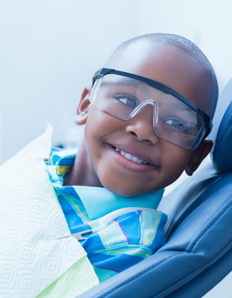 kid in dental chair