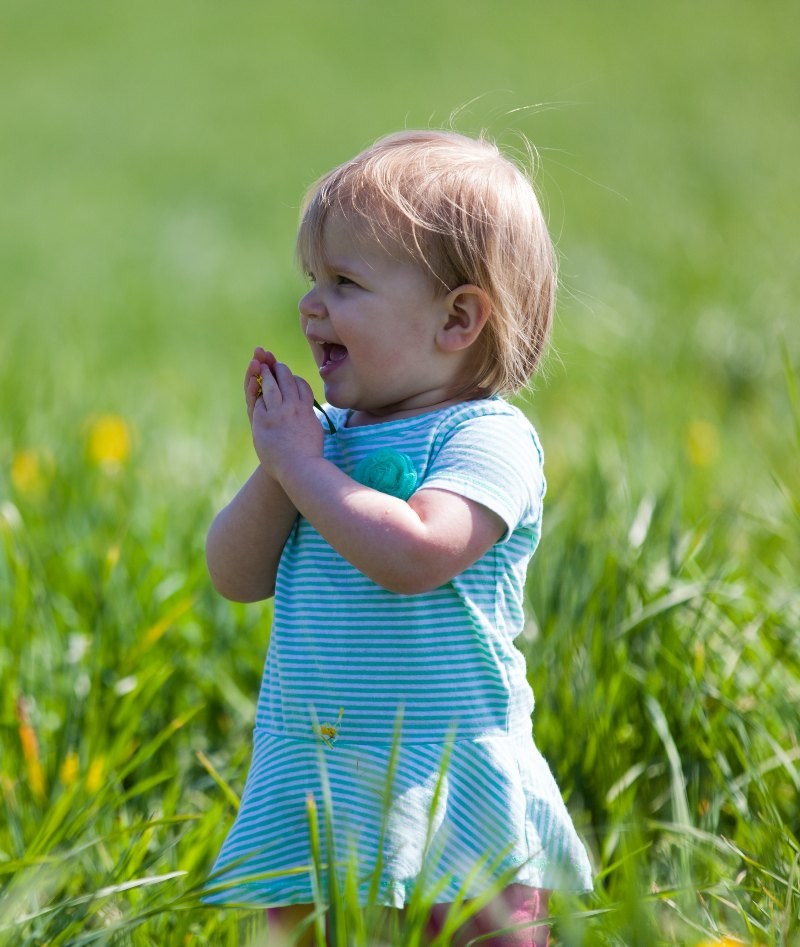 toddler in field