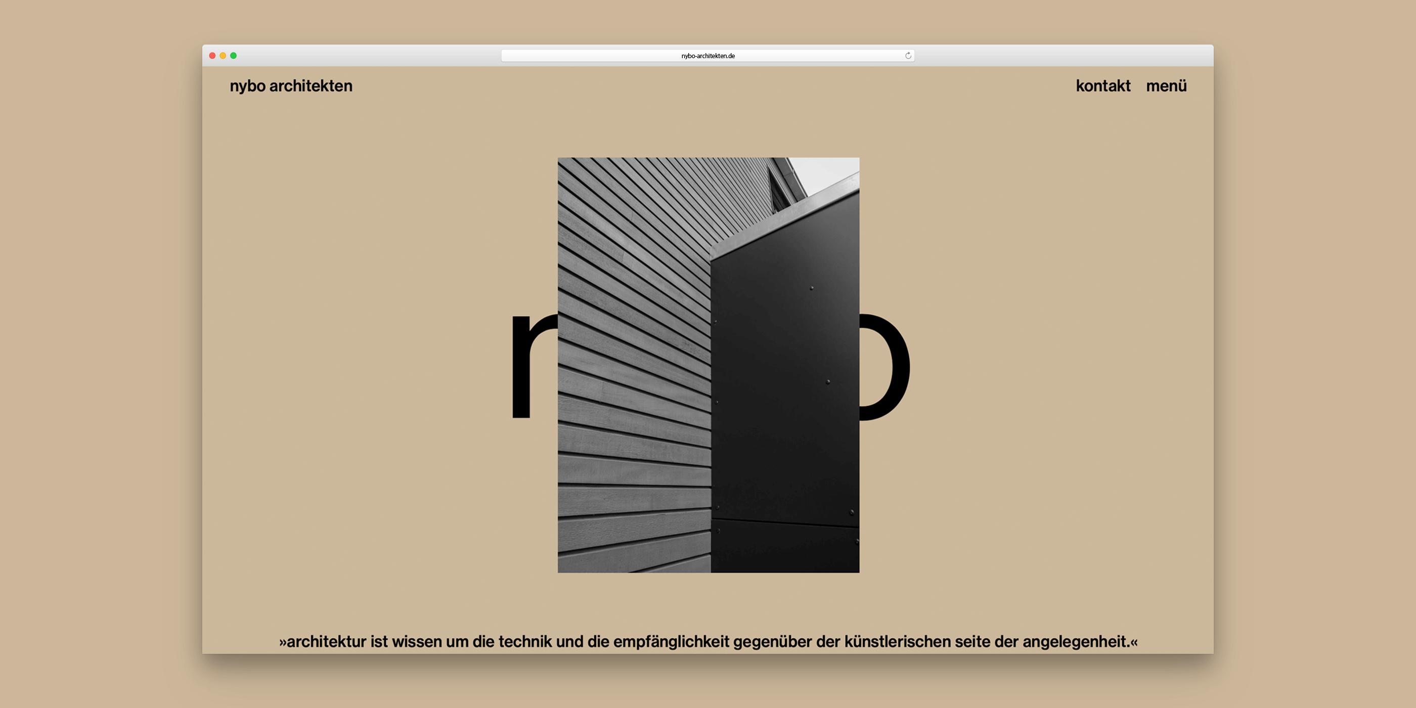 Fassadendetail und darunter ein Zitat von Arne Jacobsen