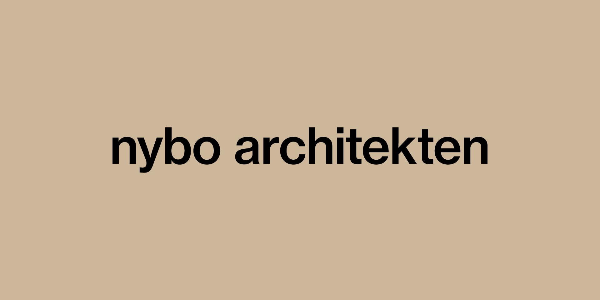 Name des Büros nybo Architekten auf beigem Hiintergrund