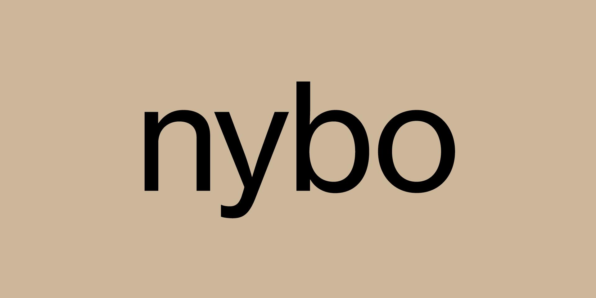 Das Wort nybo auf beigem Hintergrund