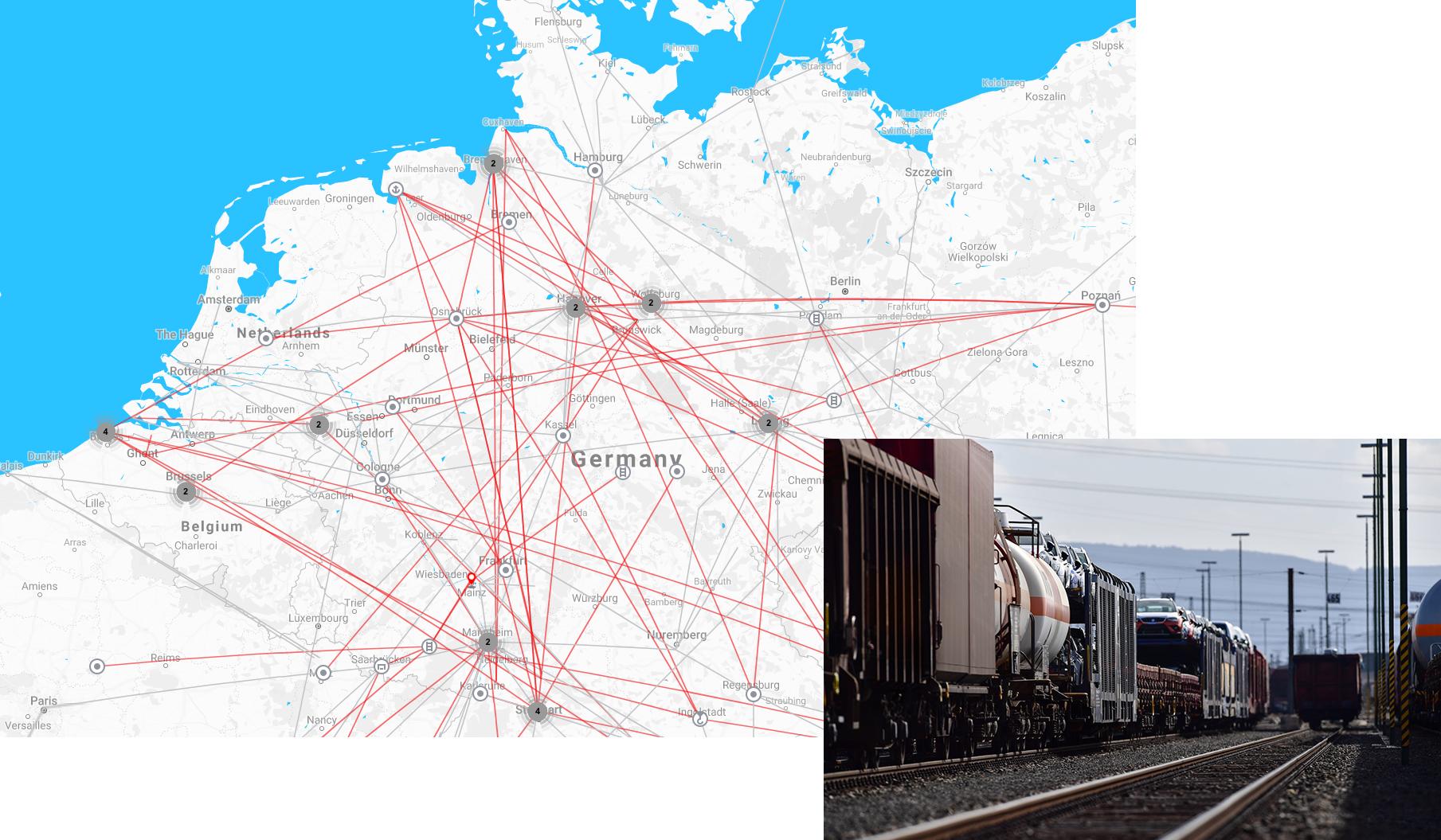 Karte von Mitteleuropa und Bild eines Zuges