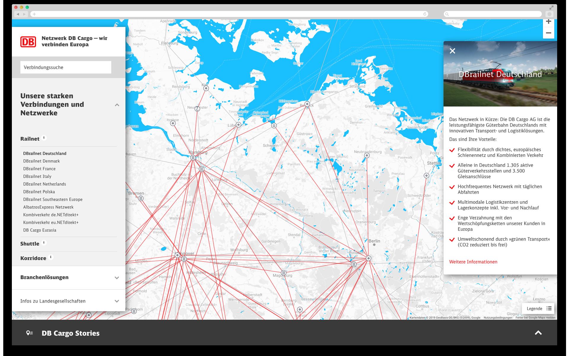 Netzwerkkarte mit Informationstext