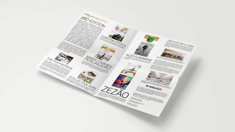 Ausgeklappter Flyer mit Text und Fotos zur Ausstellung in Miami von Laufen
