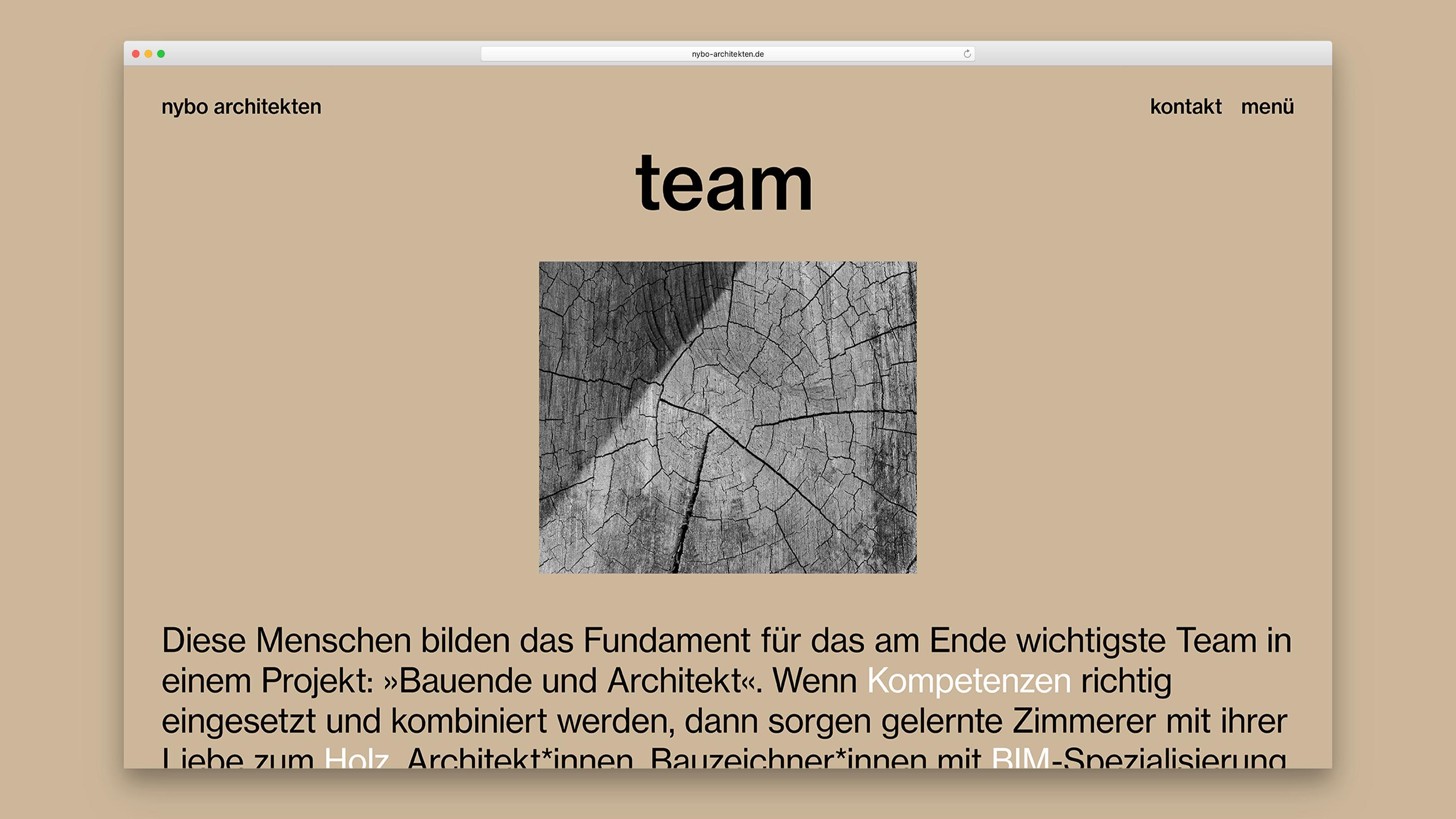 Bereichsseite Team von nybo architekten