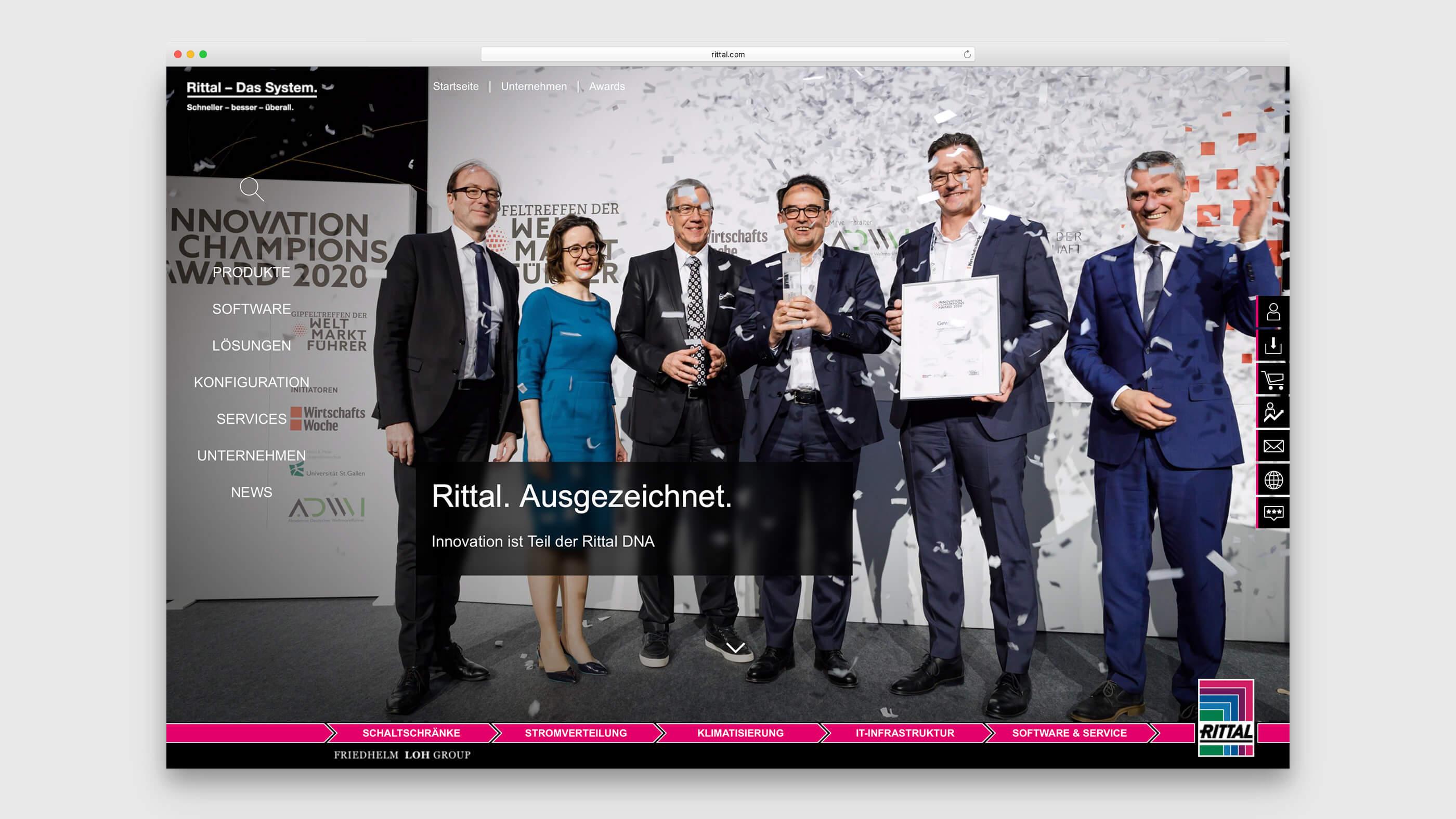 Mitarbeiter der Friedhelm Loh Group bei der Entgegennahme des Innovation Champions Award 2020 für ONCITE