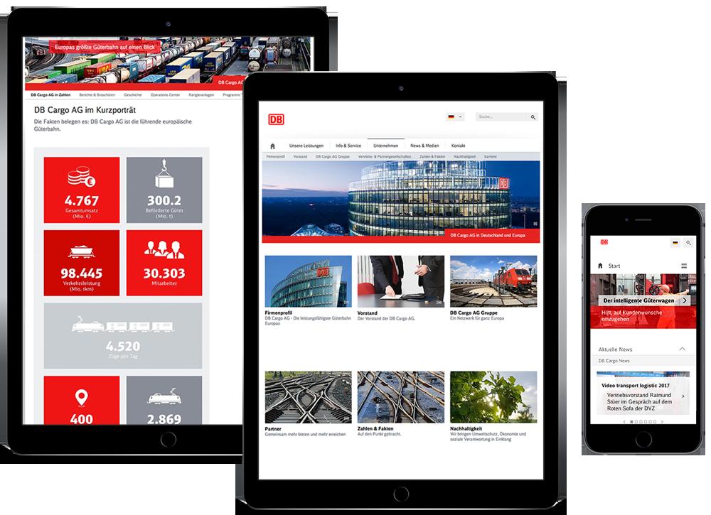 Db Cargo-Screens auf iPads und iPhone