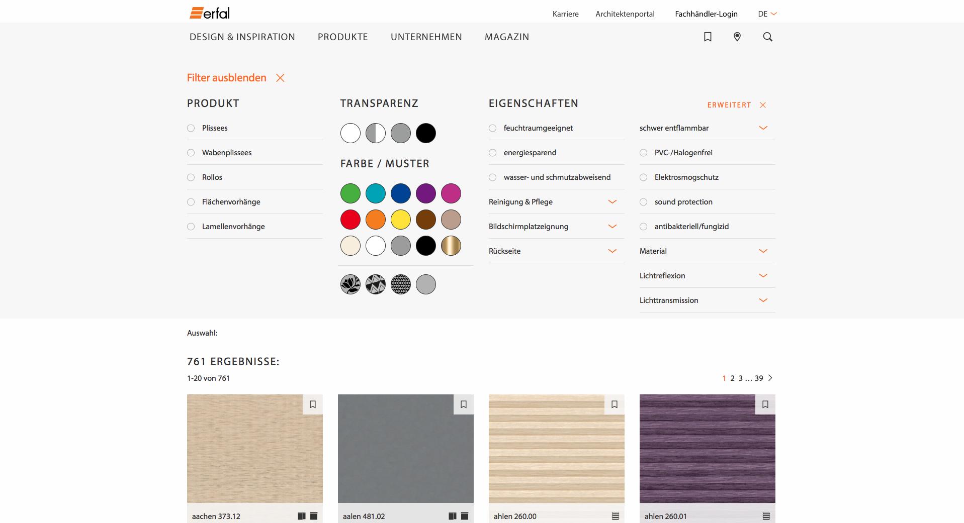 Viele viele Möglichkeiten im Designfinder dank des Produktinformationssystem (PIS)