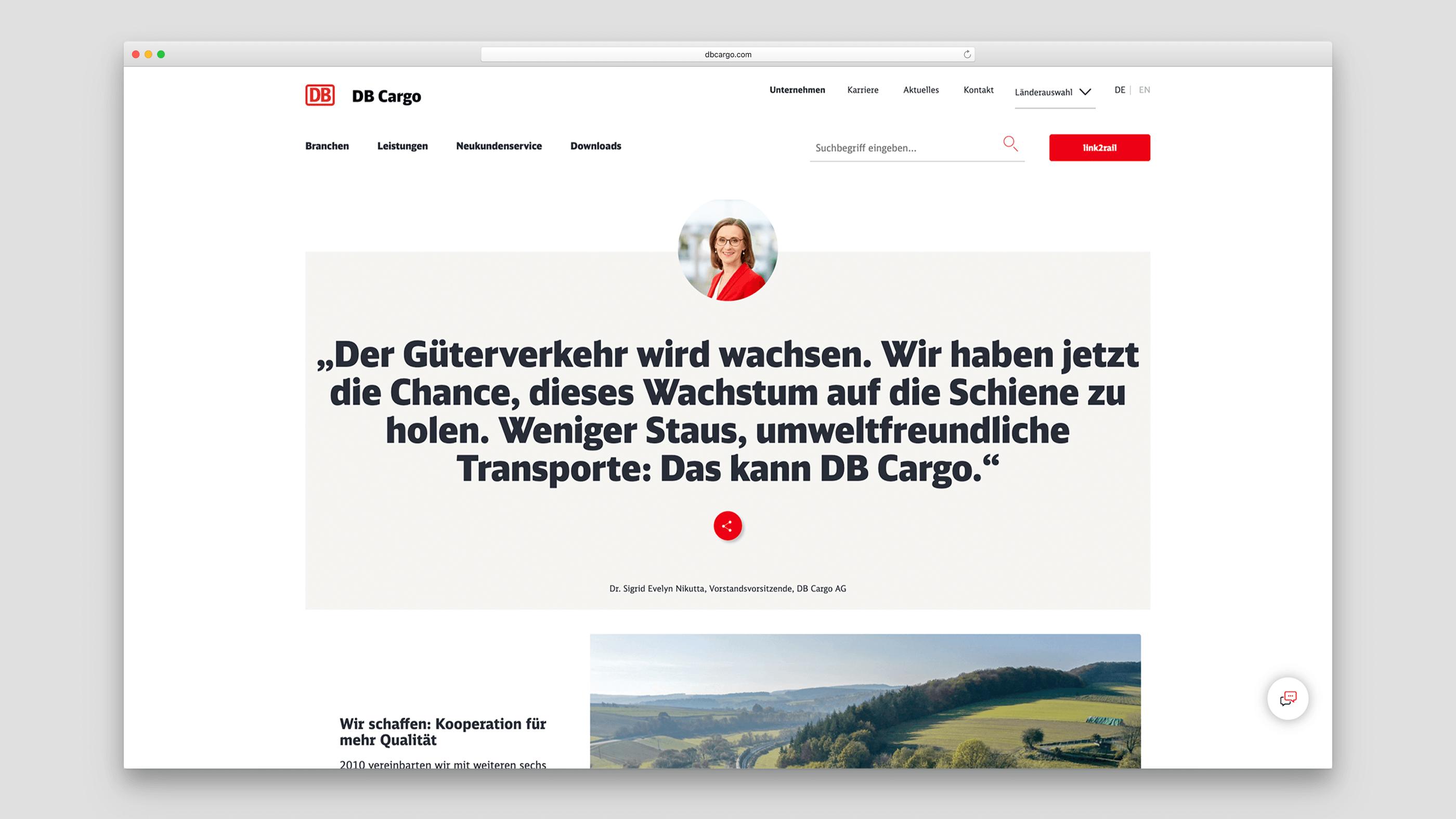 Zitat und Bild der DB Cargo Vorstandsvorsitzenden Dr. Sigrid Evelyn Nikutta
