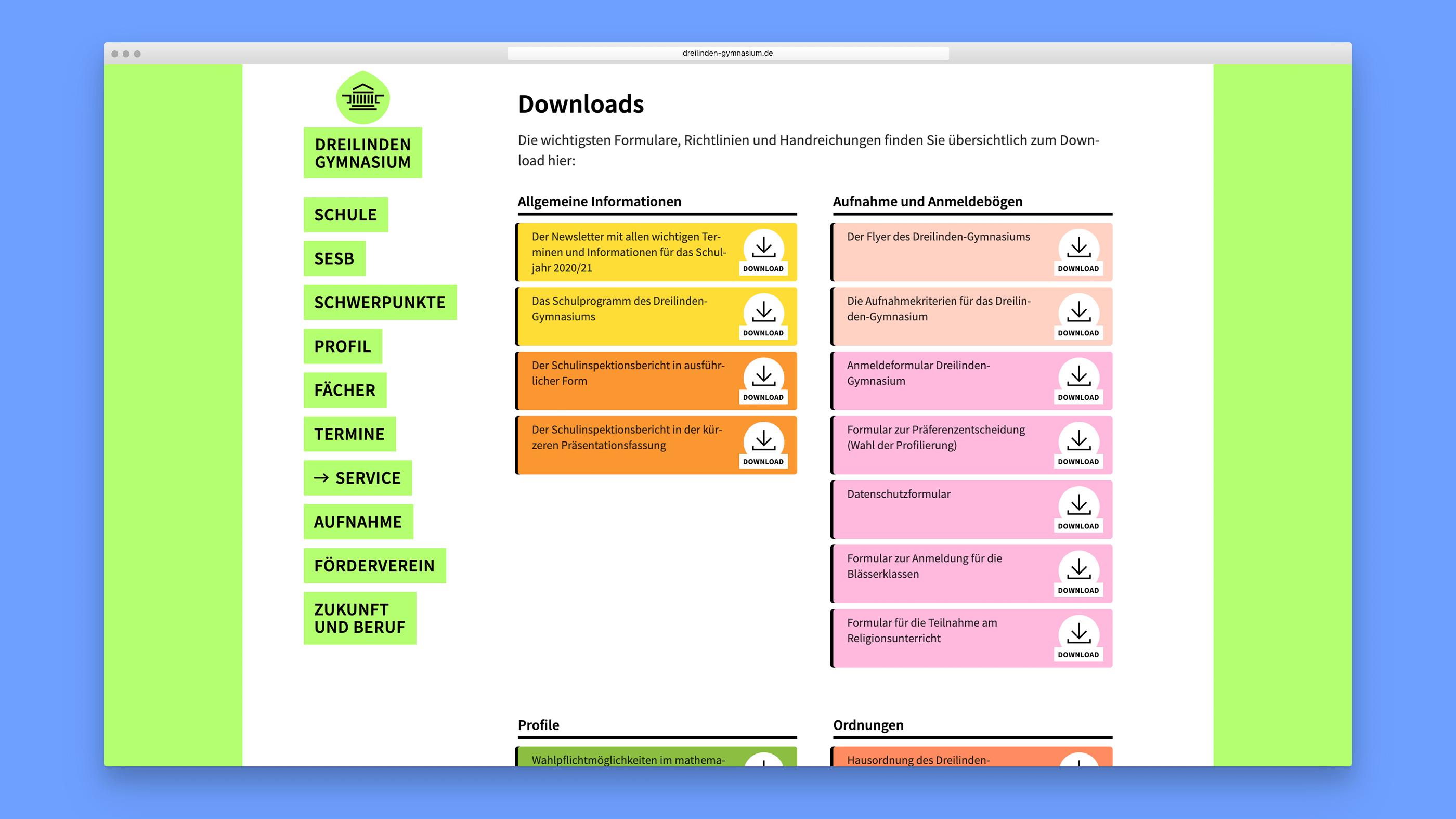 Unterschiedlich farbige Download-Felder erleichtern die Orientierung