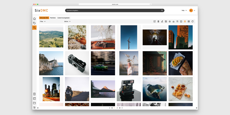 Suchergebnis von Bildern im Media Asset Management Systems von SixOMC