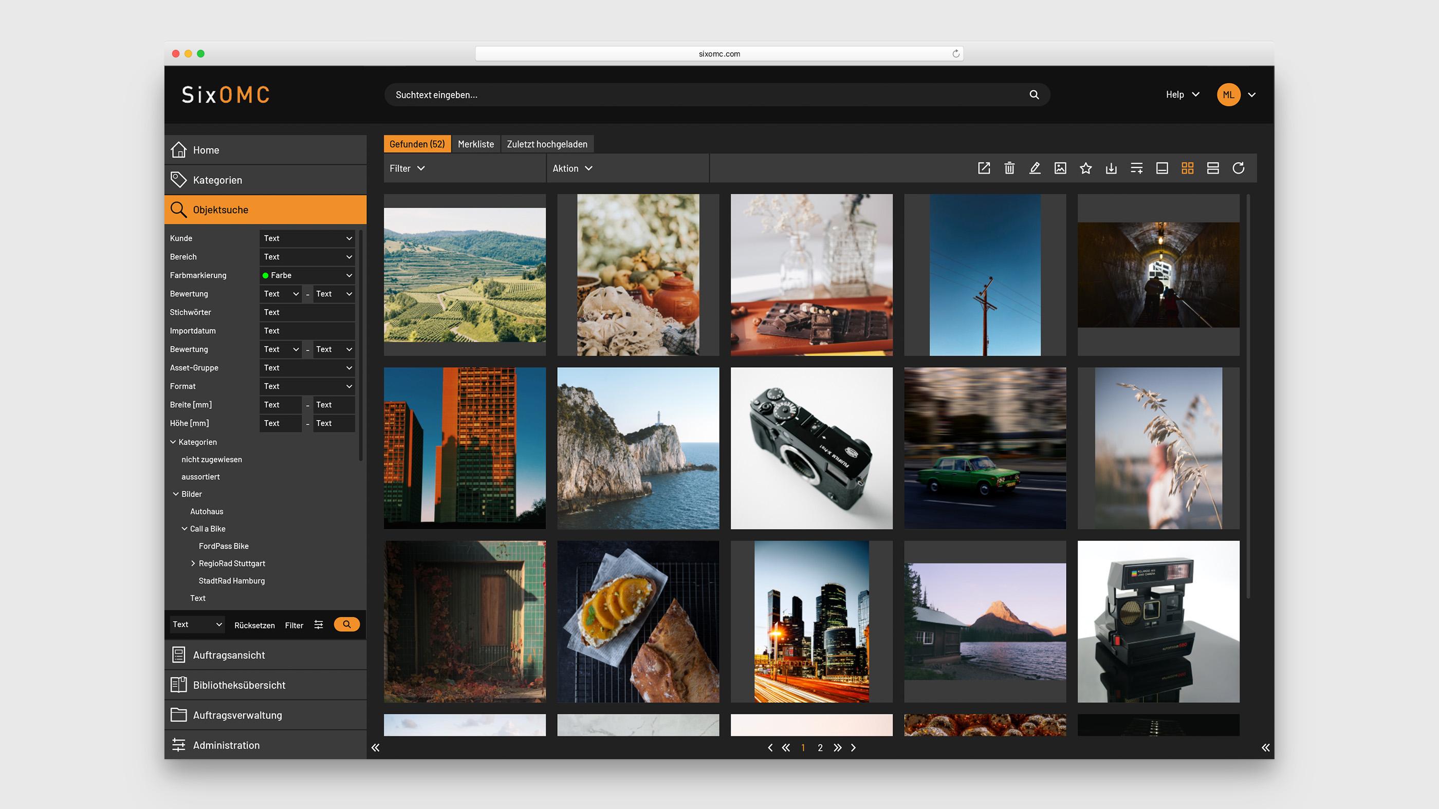 Darstellung GUI von Bildern im Media Asset Management Systems von SixOMC