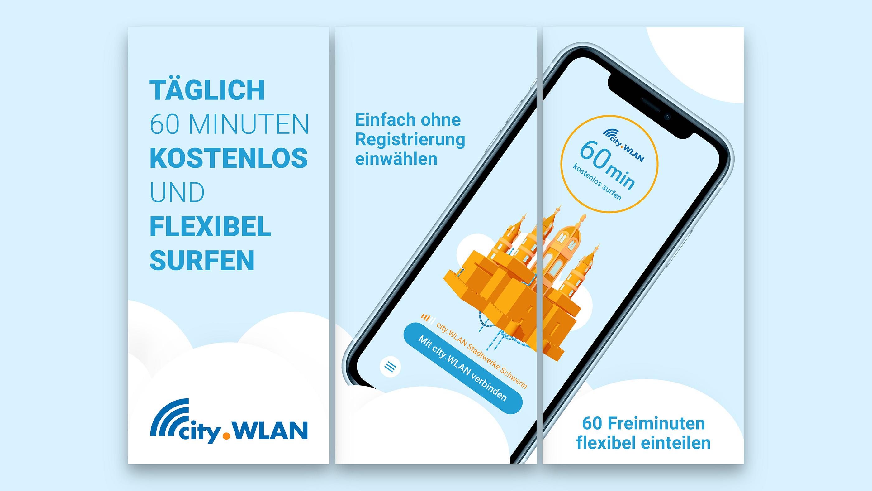 Smartphone mit cityWLAN App in der Anwendung