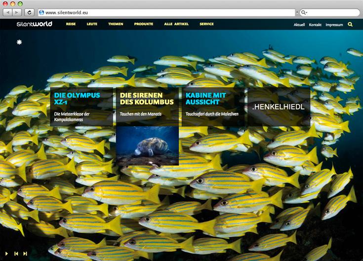 Silentworld, Startseite, gelb, Fische