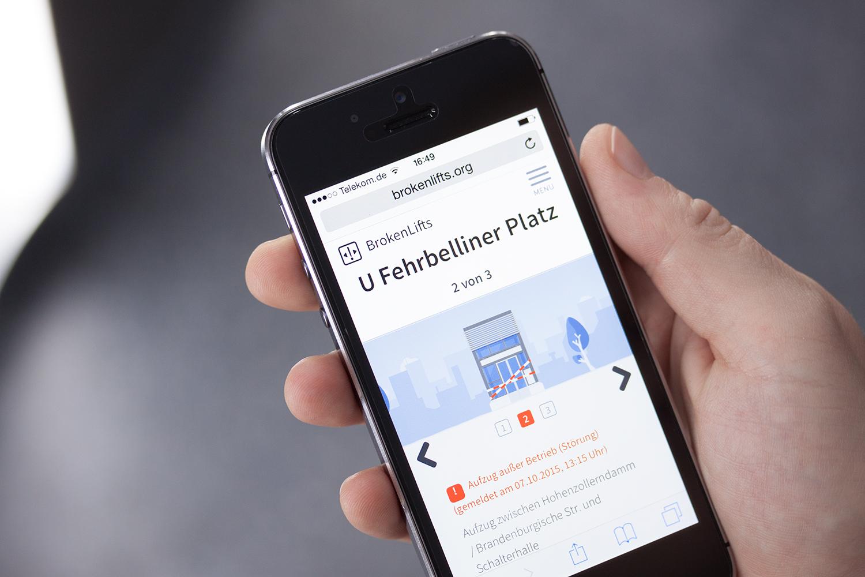 BrokenLifts.org auf einem Smartphone