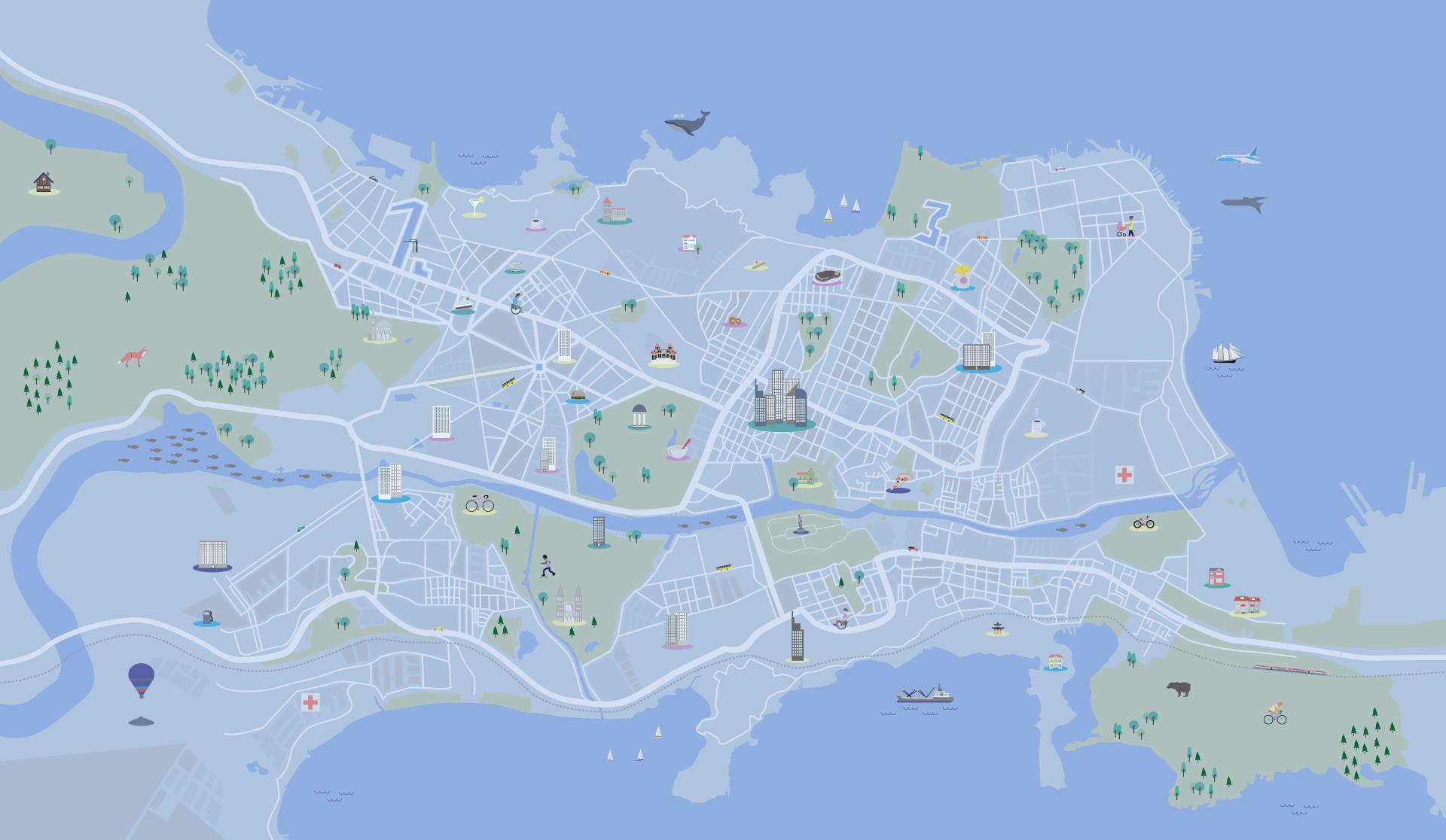 MapMyDay Illustration Karte