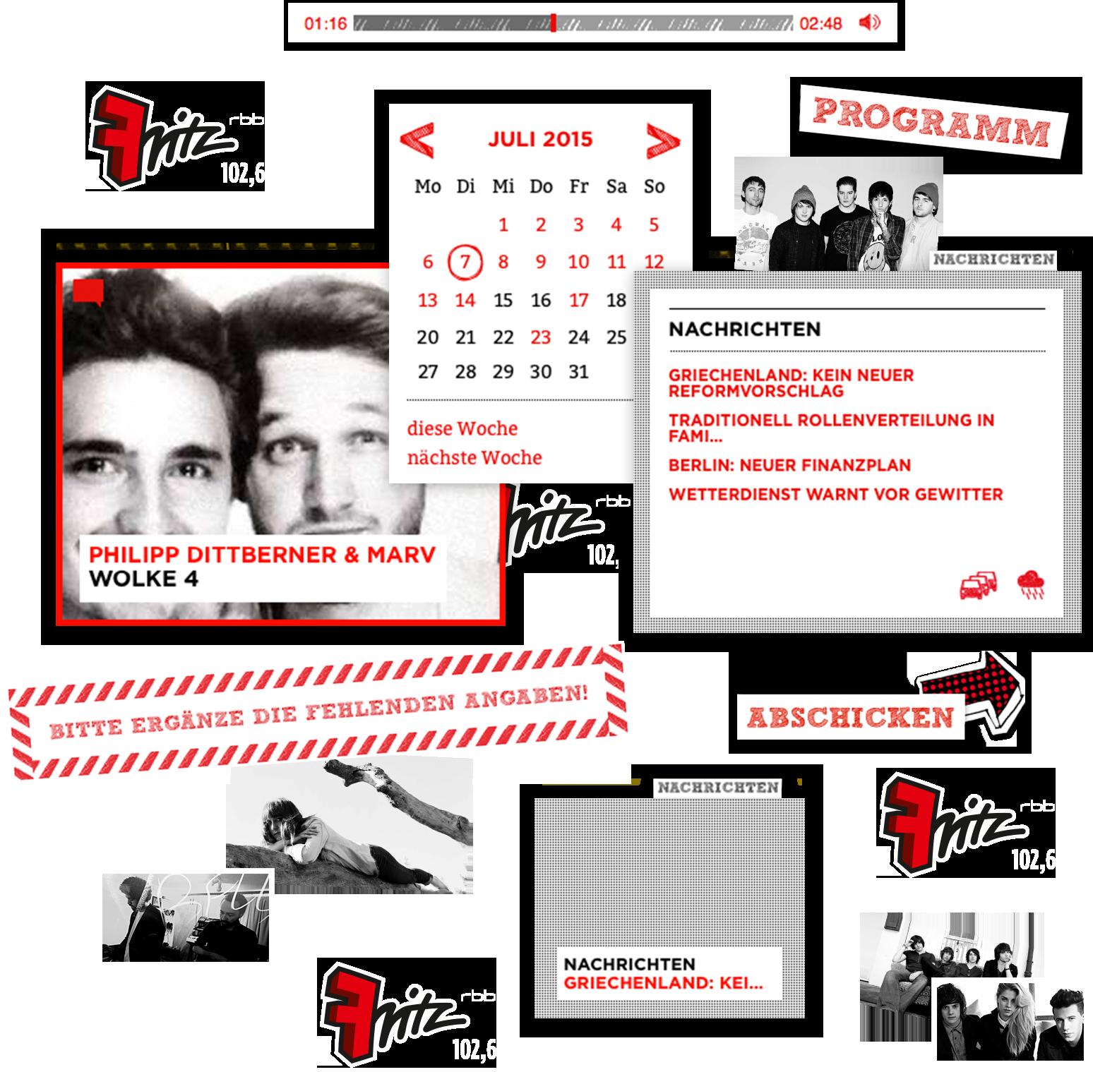 Fritz, Collage, rot, weiß, schwarz