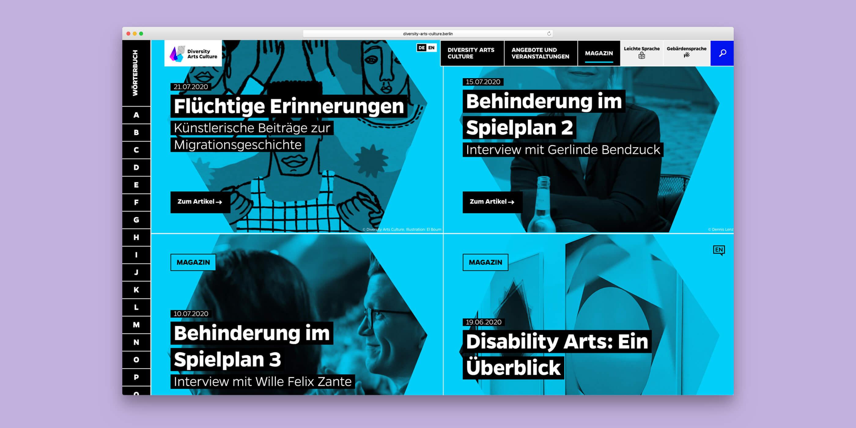 Übersicht der Projekte im Magazin von Diversity Arts Culture