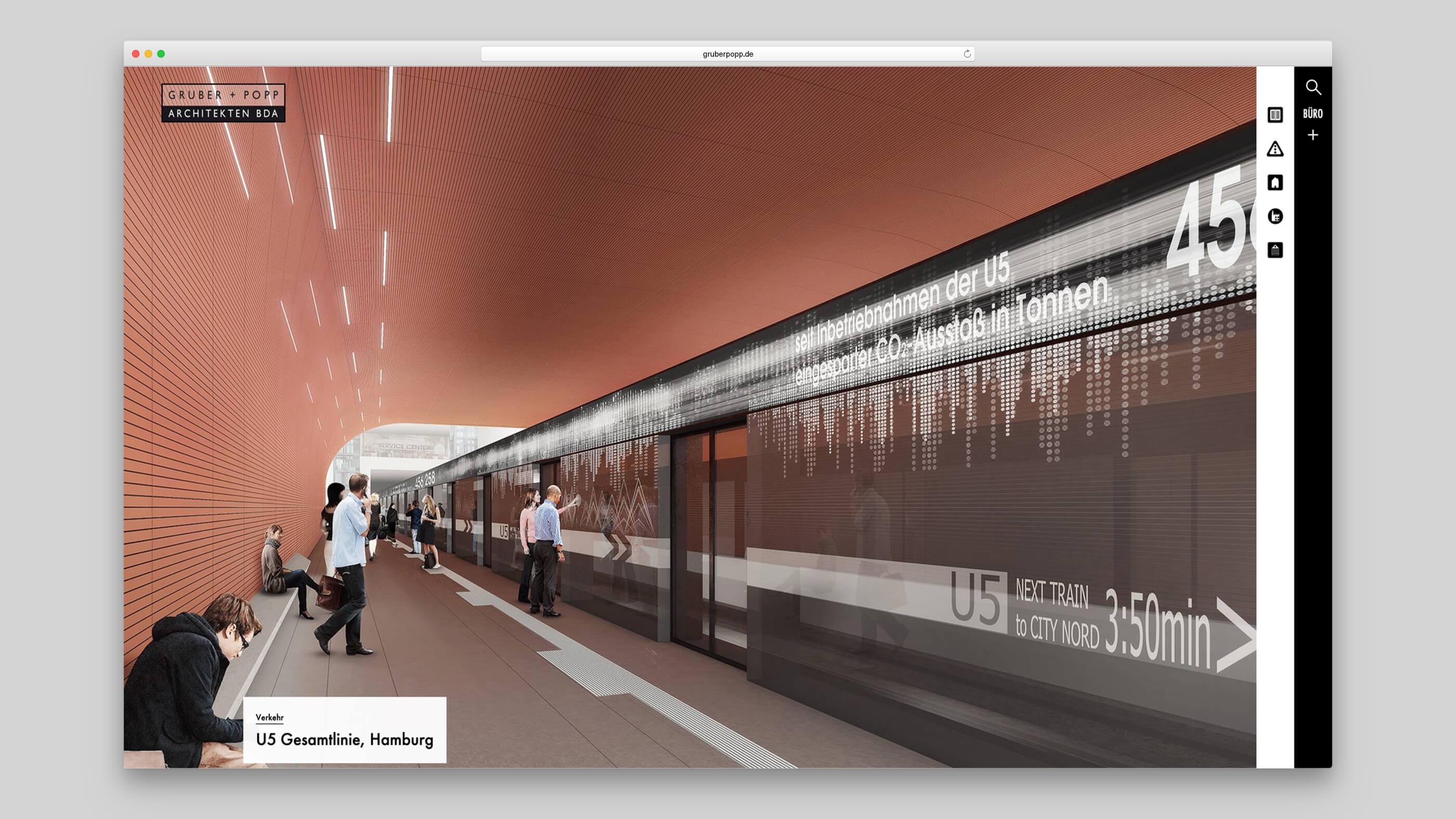 U5 in Hamburg, gestaltet von Gruber und Popp Architekten