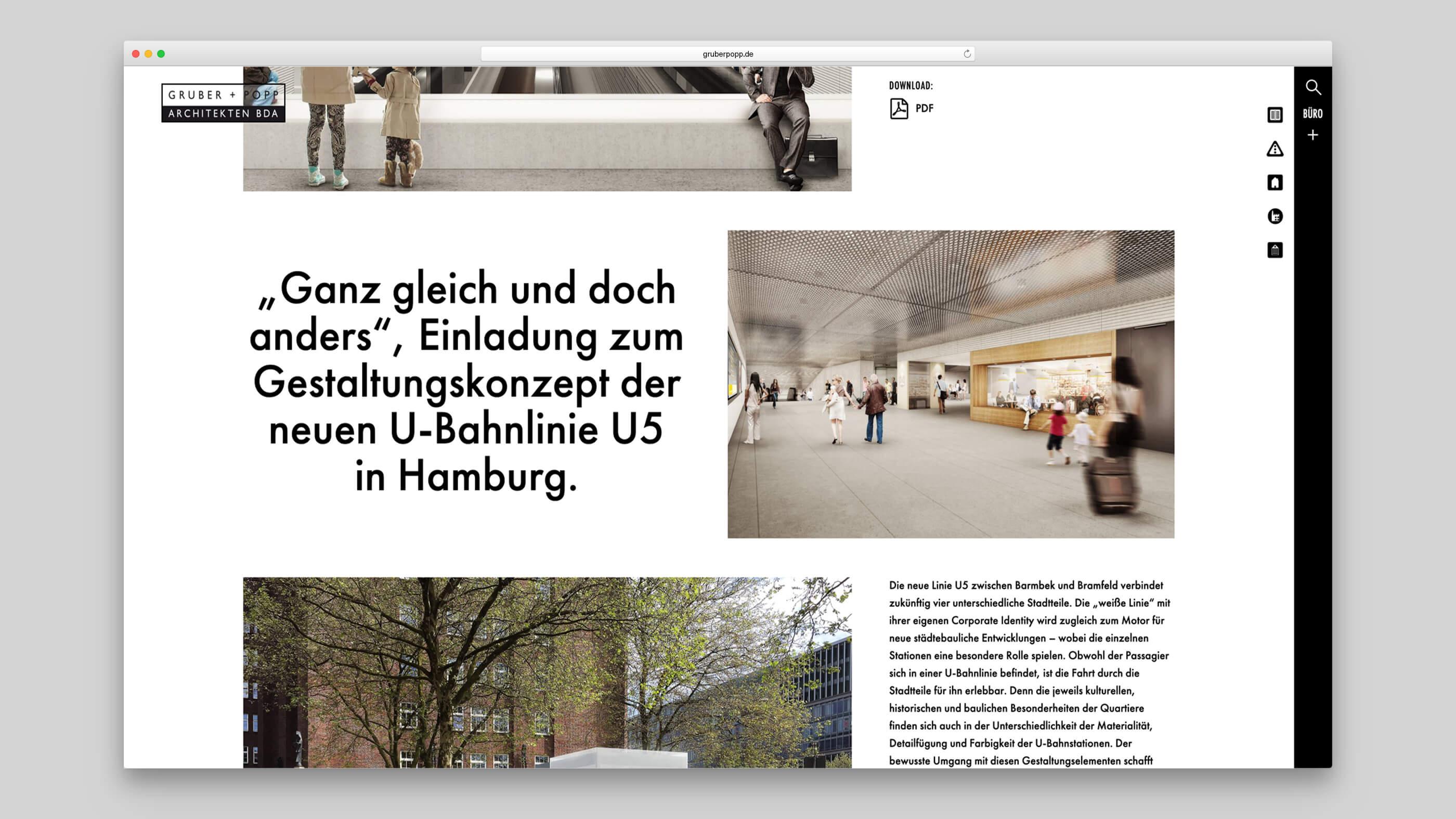 Infromationstext und mehrere Bilder zum Projekt U5 Hamburg