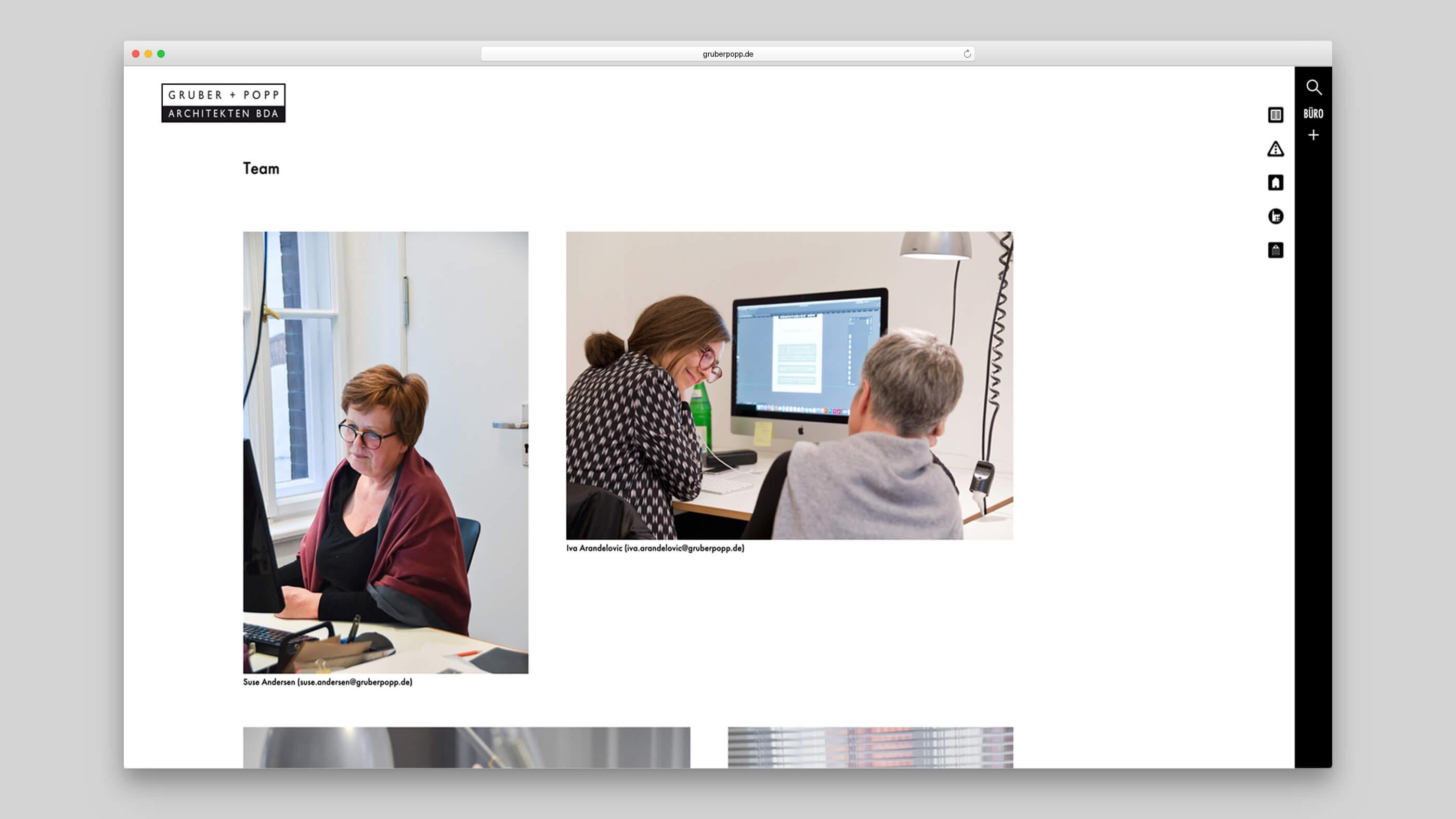 Portraits von Mitarbeitern des Architekturbüros Gruber und Popp