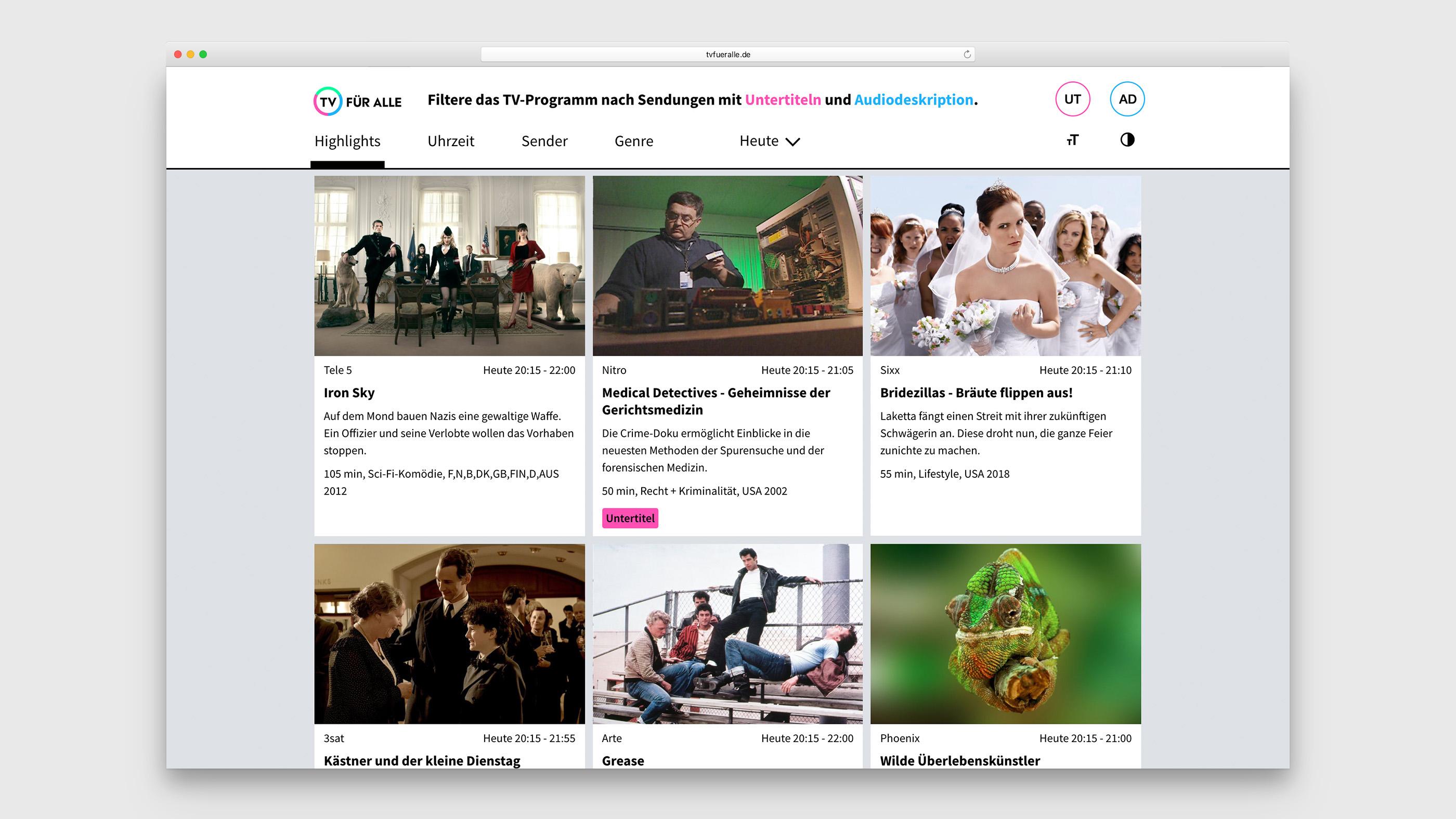 Startseite von TV für Alle mit der Programmübersicht