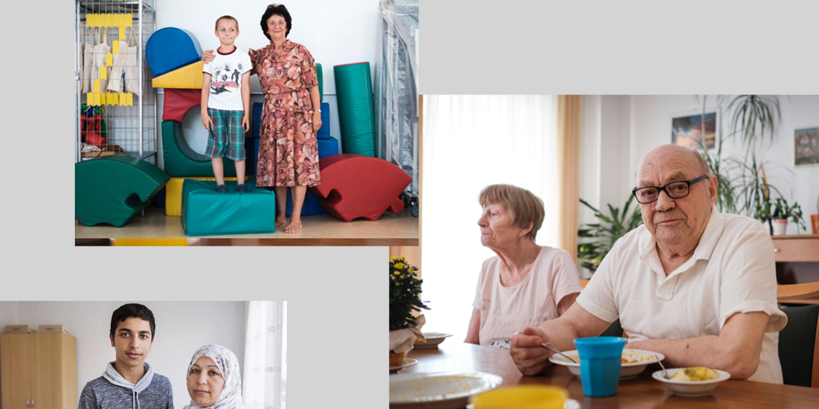 Drei Fotos mit jeweils zwei Personen in unterschiedlichen Lebenssituationen