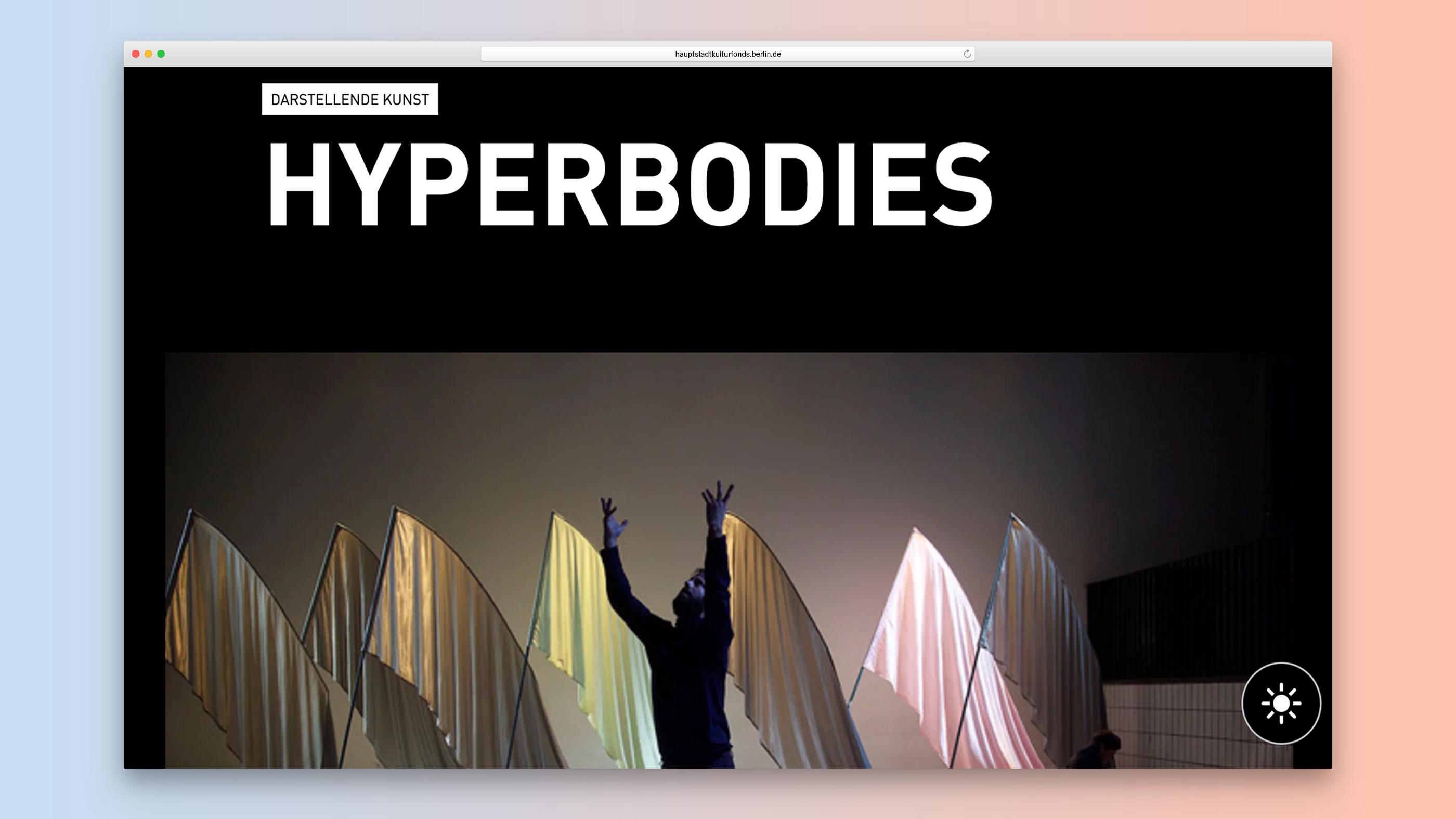 Detailseite zum Projekt Hyperbodies im Dark Mode