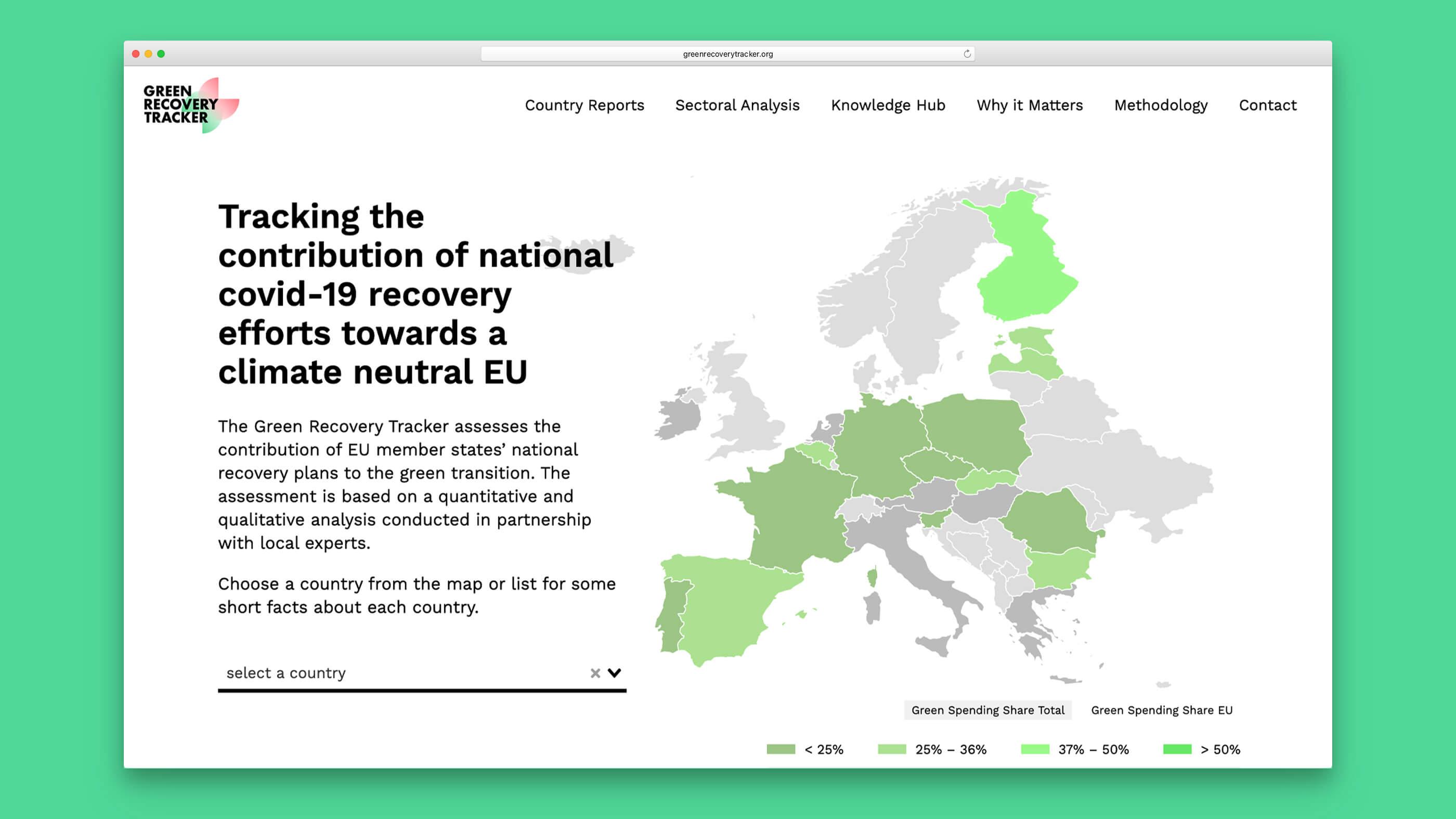 Green Recovery Tracker Startseite