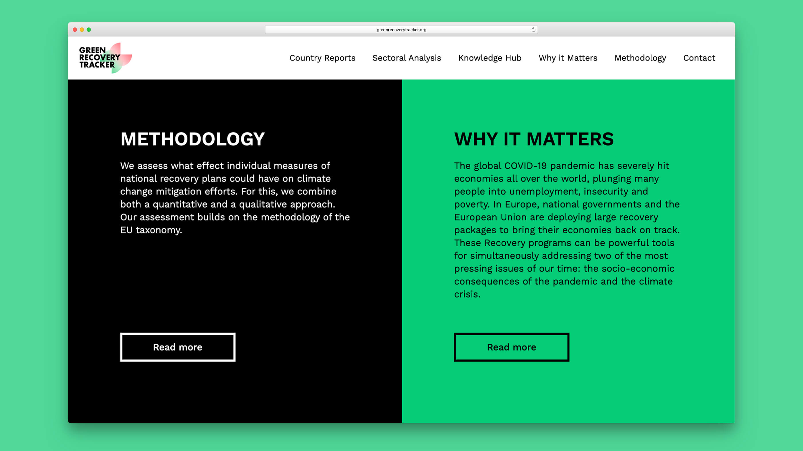 Green Recovery Tracker Website