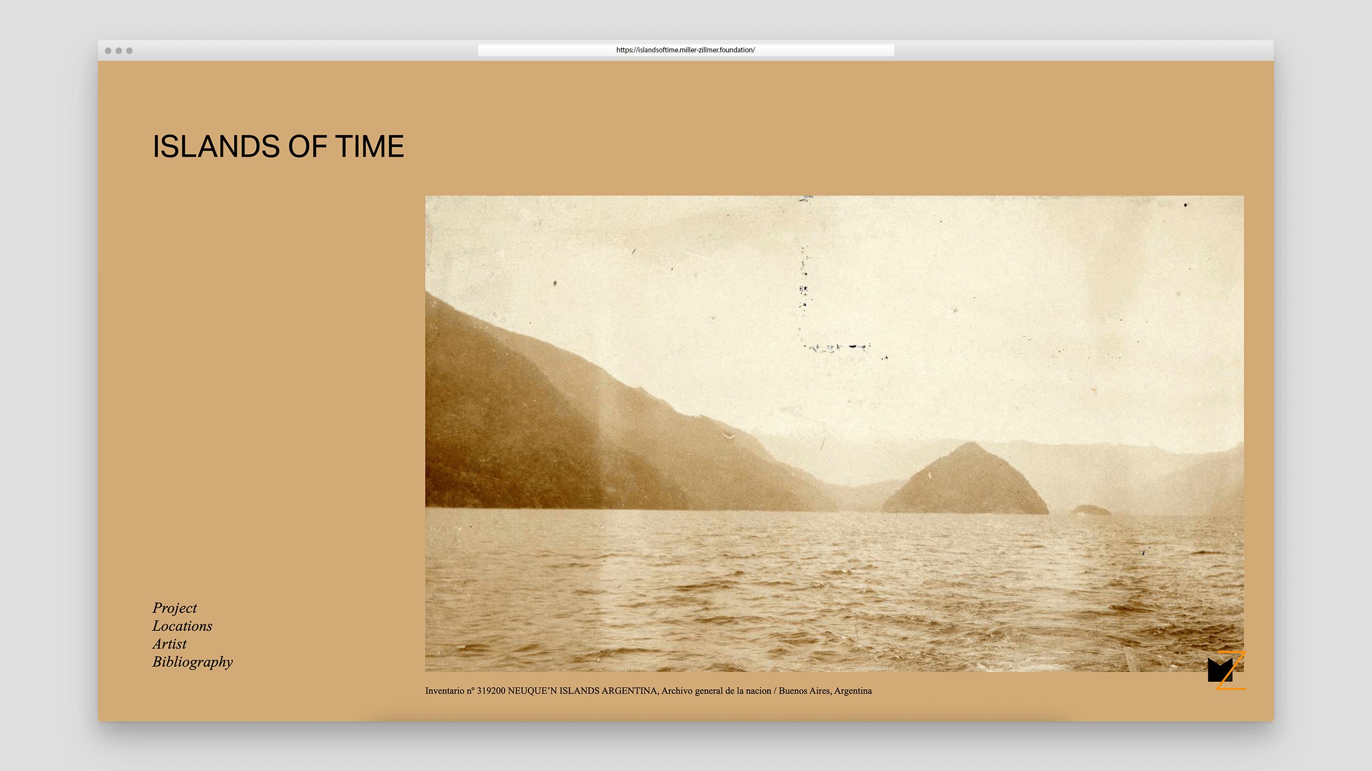 Screenshot Islands Of Time Microsite der Miller-Zillmer Stiftung