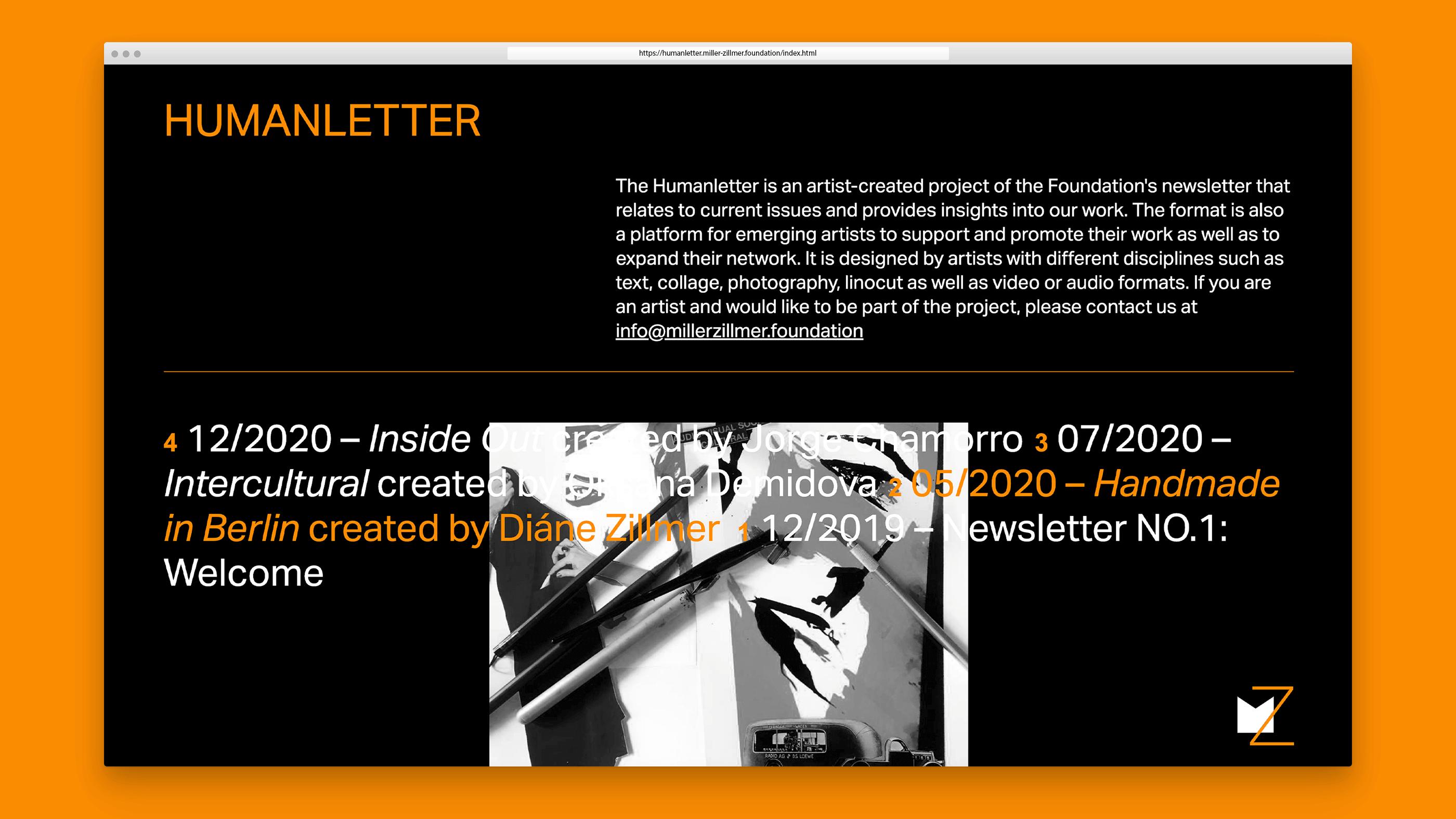 Screenshot Humanletter der Miller-Zillmer Stiftung