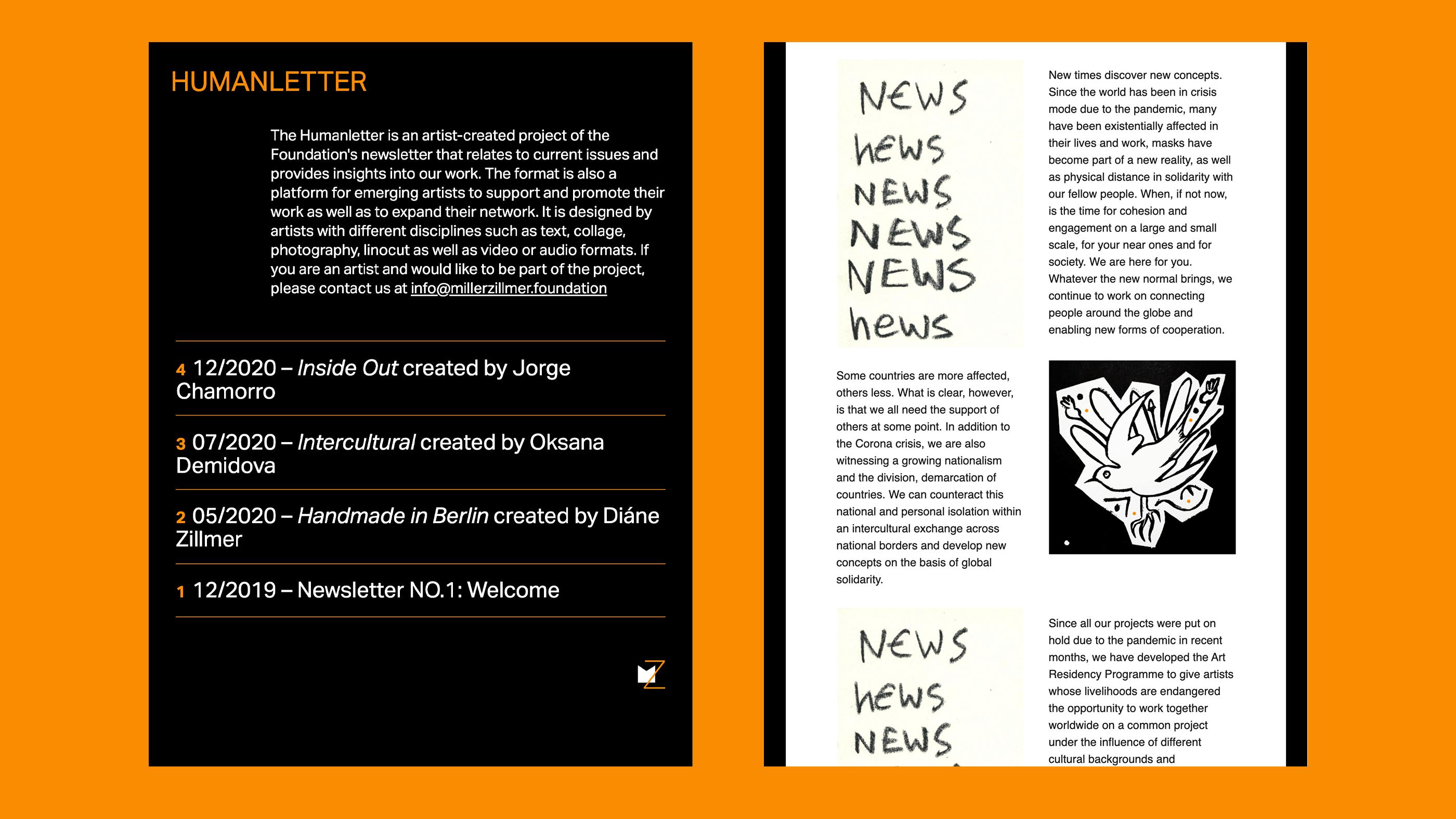 Screenshot Humanletter Microsite der Miller-Zillmer Stiftung