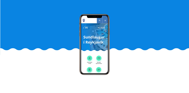 Vefsíða Sundlauga Reykjavíkur í snjallsíma