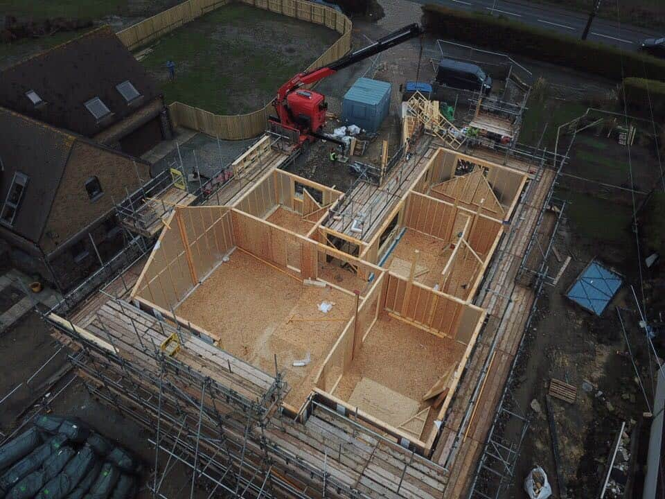 areal view of new build in process
