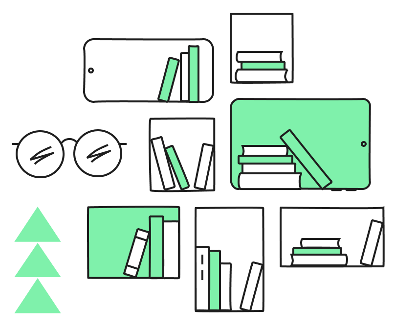 graphic of a number of screens with books on them