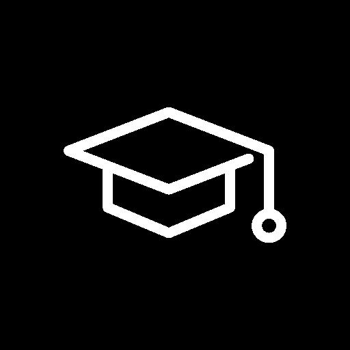 white icon of a graduate cap