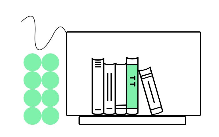 graphic of textbooks inside a desktop computer