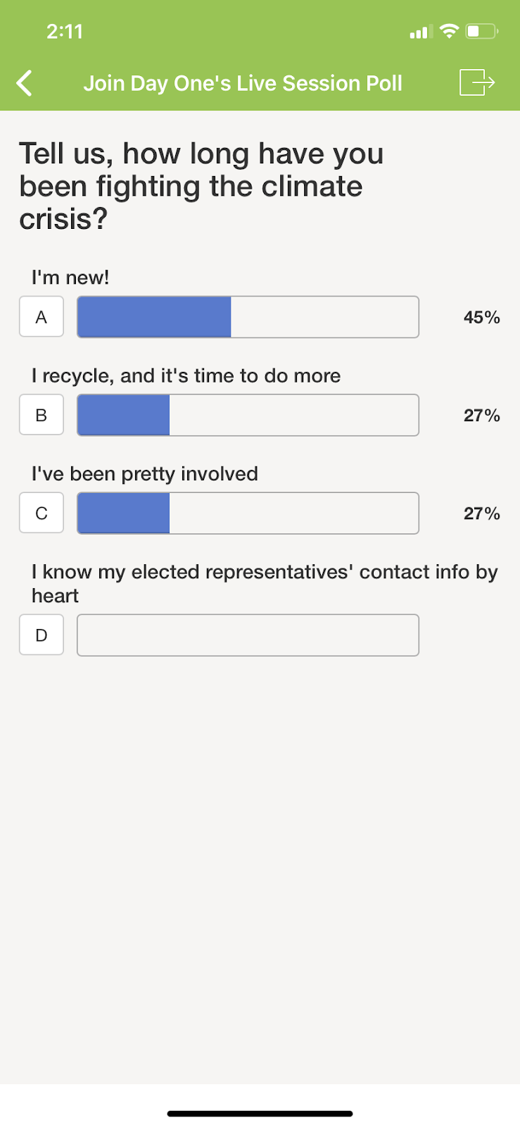 Image of event mobile app poll question asking how long have you been fighting the climate crisis?