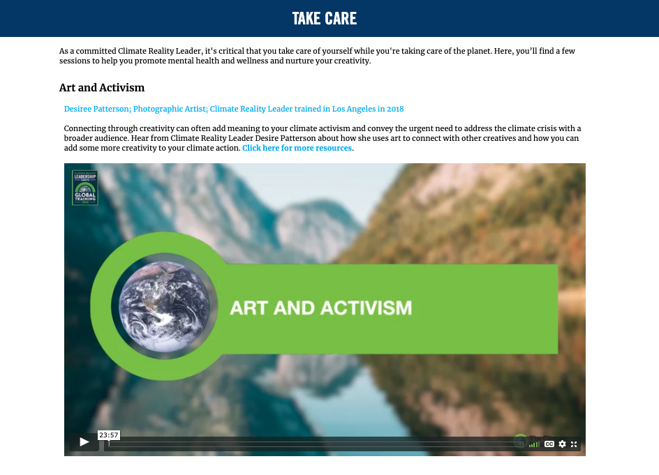 Image of web page showing a video about art and activism.