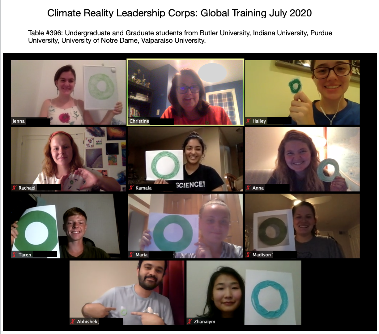 Image of virtual training participants with homemade green rings to symbolize their certification.