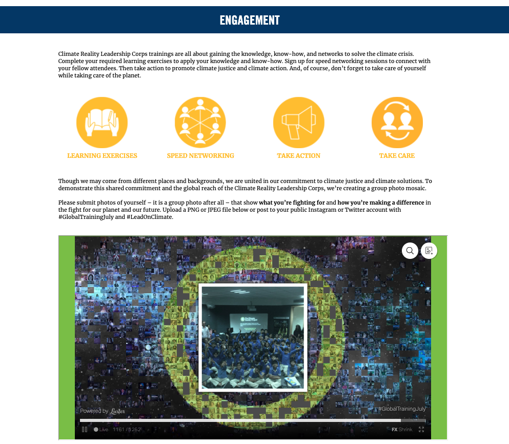 Image of web page explaining how attendees can be engaged online together.