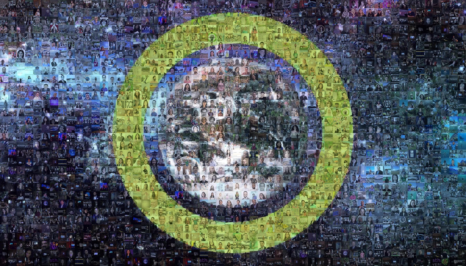 Image of art created by placing photos of virtual event attendees into a mosaic pattern.