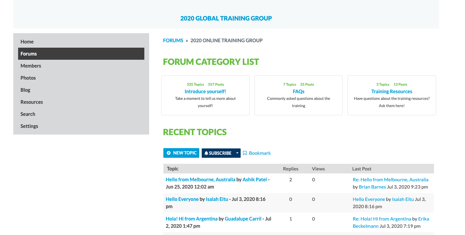 Screenshot of 2020 Global Training Group landing webpage with discussion forums.