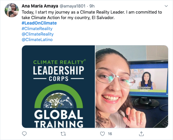 Twitter post about Climate Reality Virtual Event saying Today I start my Climate Reality Journey.