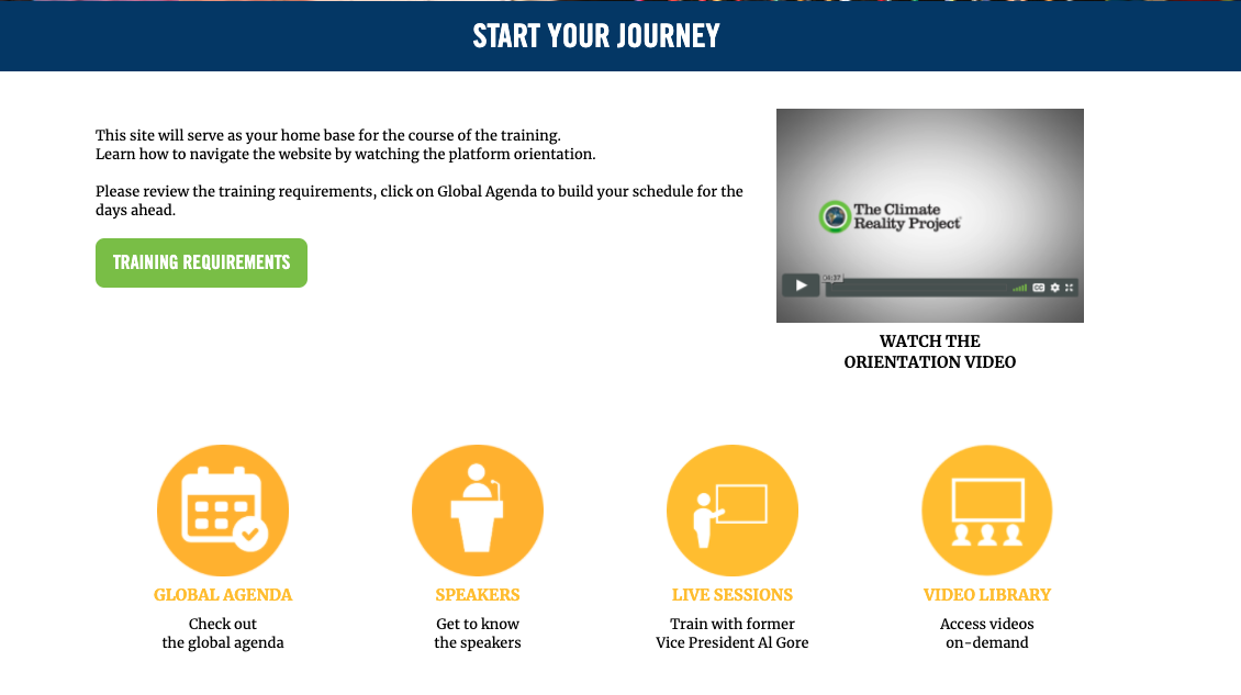 Screenshot of virtual event platform Start Your Journey landing page.