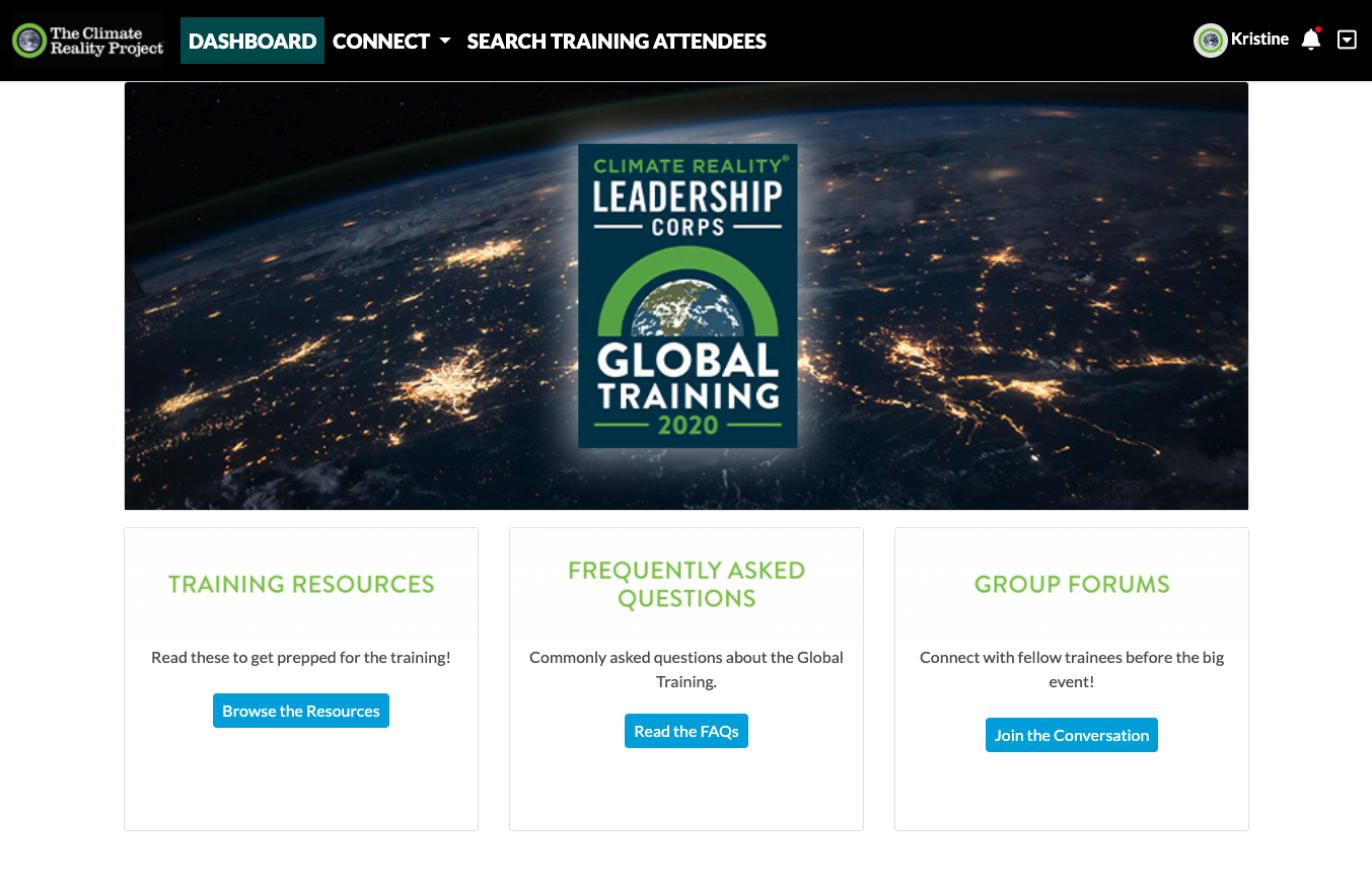 Screenshot of Climate Reality website resources page for virtual event attendees.