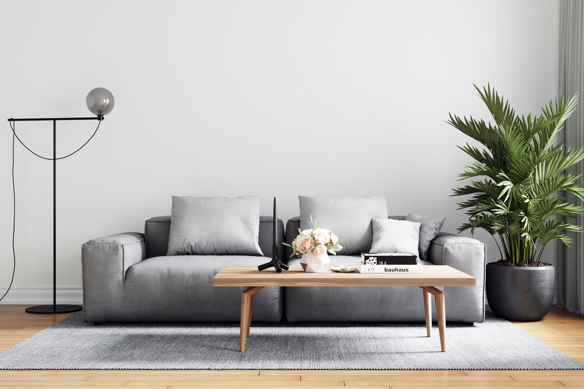modern interior with grey couch and styling