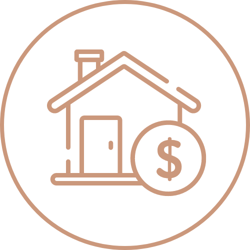 House with dollar sign icon pink